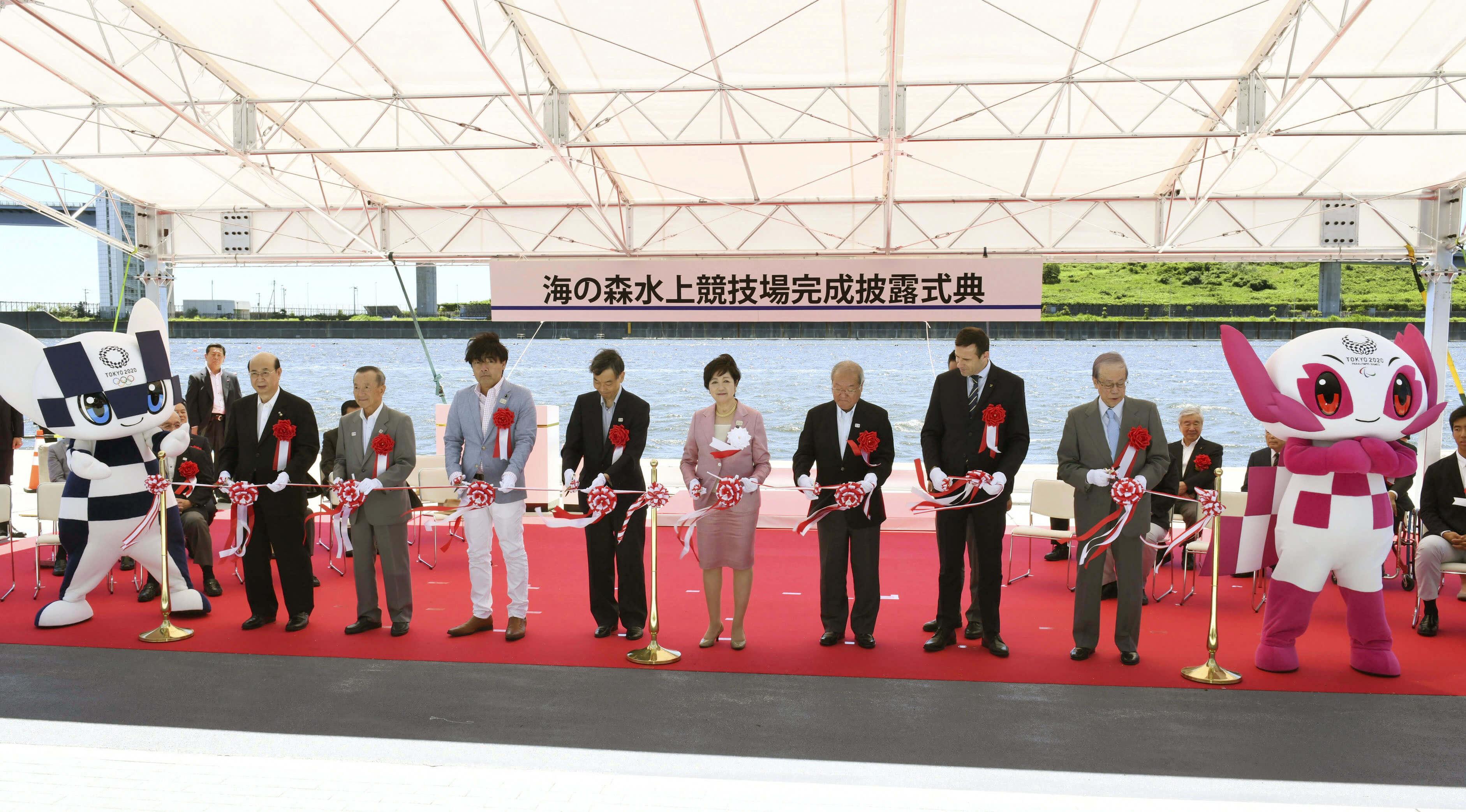 小池百合子6月16日出席東奧水上運動場地海之森水上競技場啟用儀式。(檔案照片/共同社提供)