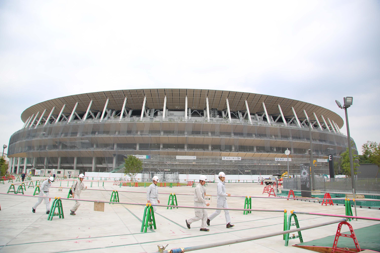 東奧主場館新國立競技場的設計改用日本自然派大師隈研吾的作品,大量使用木材造頂。(中央社檔案照片)